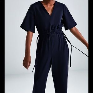 Zara Navy Blue Buttoned Jumpsuit 2412/533 szMedium
